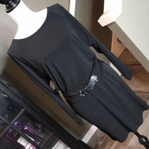 Michael Kors black long sleeve belted dress